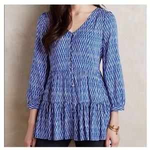 Anthropologie Maeve Lila Blue Tiered Tunic…